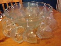Glass punch bowl and cups