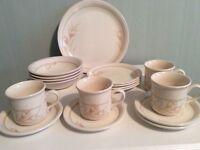 Earthenware Tea Set with Plates, Bowls and Mugs