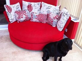 Large red 2 seater love seat
