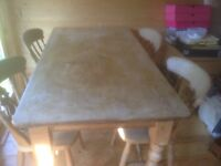 Pine table 5 ft by 32in, 31 in high plus 6 chairs, easy pickup, emsworth, ground floor