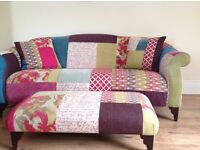 Gorgeous patchwork sofa, super condition, includes two cushions and footstool