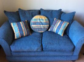 Blue Fabric 2 Seater Sofa - Smoke / Pet Free Home