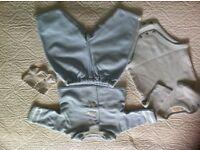 Designer Emile et Rose 4 piece baby boy blue outfit 1-3 months