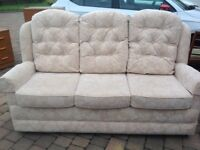 Sofa and 2 high backed chairs, excellent condition, would suit older couple, HSL, smoke and pet free