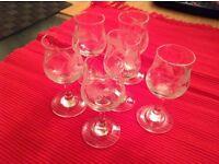 Six Very Pretty Tiny Liqueur Glasses