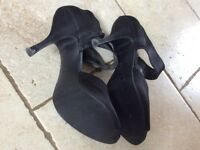 Black satin high heels size 5
