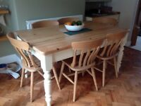 Solid pine farmhouse table and 6 chairs
