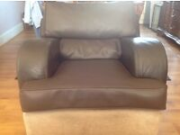 Leather and cloth trim comfortable armchair