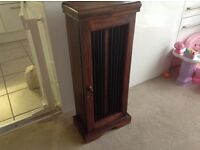 CD / Storage cabinet dark brown solid wood with iron bars immaculate.