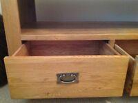 Solid Oak TV- media cabinet condition excellent.