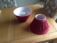 Two claret lampshades, excellent condition, Laurey Ashley