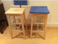 IKEA birch bar stools with cushions. Condition as new. Cushions washable.