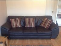 Brown Leather Sofa. Three seater, two seater, one chair, one foot stool. Brown leather suite