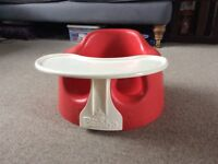 Bumbo red seat and tray.