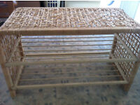 Wicker shoe rack