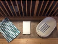 Baby bath, towelling safety recliner and change mat