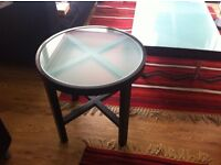 Circle black solid wood side table glass topped D: 55cm, H: 55cm in a very good conditions.