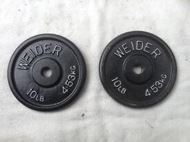 2 x 10lb (4.5kg) Weider Standard Cast Iron Weights