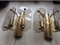 Two wall lights in glass and brass v.g.c.