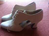 Nubuck leather shoes, 3 inch heels, very good condition, natural colour