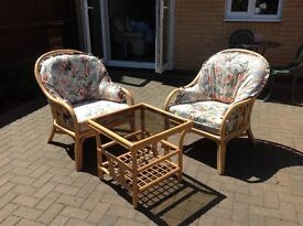 2 chairs and small table for Conservatory