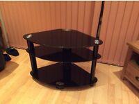 TV corner unit Black glass 3 tier - excellent condition. W:800 x D: 450 H: 550