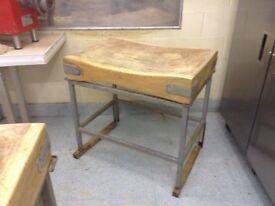 Antique Maple butcher block on aluminium stand
