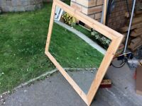 Large pine framed rectangular mirror
