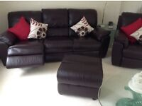 Dark Brown 3 Seater Sofa Arm Chair both Electric Recliners Storage Footstool Excellent Condition