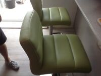 Bar / kitchen stools faux leather padded seats x 2 Lime Green (variable height gas lift)