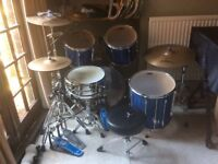 Pearl export series drum kit midnight blue with extras