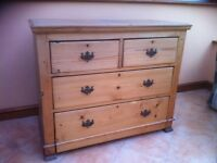 Old antique stripped pine chest of drawers