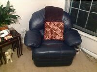 Navy blue 3 piece leather suite