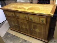 Solid mango wood sideboard dining room cabinet with matching mirror.