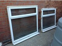 """2 X Second hand UPVC Windows for sale. 4' square and 4' X 3'6"""" (opaque) & 10kg grey grout"""