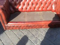 chesterfield 3 seater oxblood sofa ( no seat cushions )