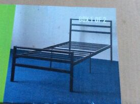 Black Metal Single Bed Frame- NEW BOXED