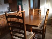 Solid Oak Trestle Table & 4 Chairs