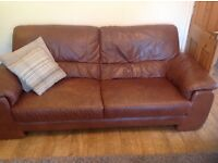 Brown Leather Sofa 3 seater £40 for quick sale