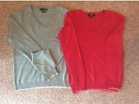 2 x Ladies Cashmere Jumpers. Excellent Condition. Ladies size 12.