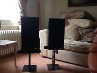 Speakers. SPENDOR with stands. Black wood finish