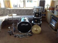 Stag 5 piece black drumkit