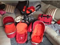 Icandy peach travel system 3in1 full set up in red