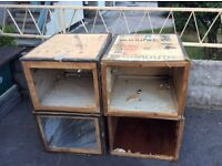 4 very old vintage wooden tea chests