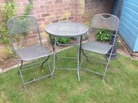 Grey Round Garden Table and Two Chairs