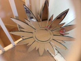 Sun flower shaped wall mirror