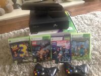 XBOX 360 with Kinect Sensor, 2 controllers and games