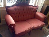 Vintage French/Italian Rococo pink velvet sofas
