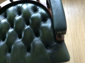 Captains Green Leather Buttoned Chair