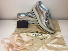 PRADA WOMEN SHOES LEATHER PLATFORM SNEAKERS USED IN VERY GOOD CONDITION!!